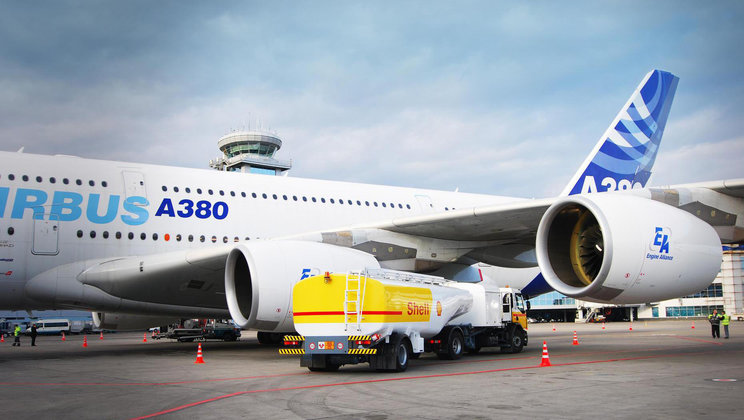 Airbus A380 on runway.